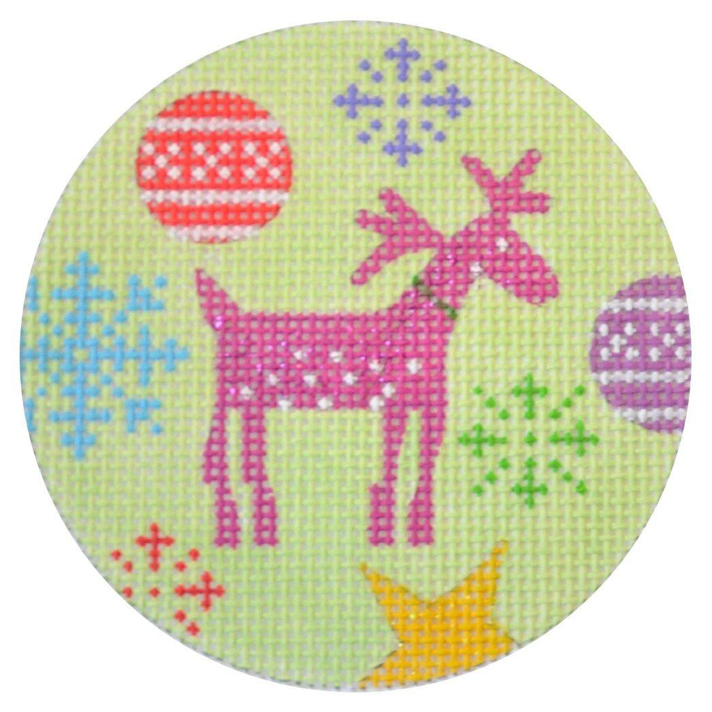 Rudolf Christmas Round Painted Canvas Kirk & Bradley