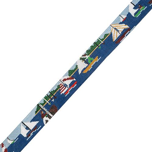 Sailing Belt - Regatta Painted Canvas The Meredith Collection
