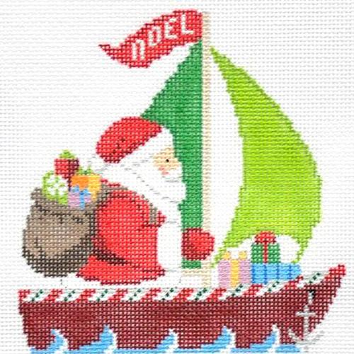 Sailing Santa Painted Canvas Susan Roberts Needlepoint Designs Inc.