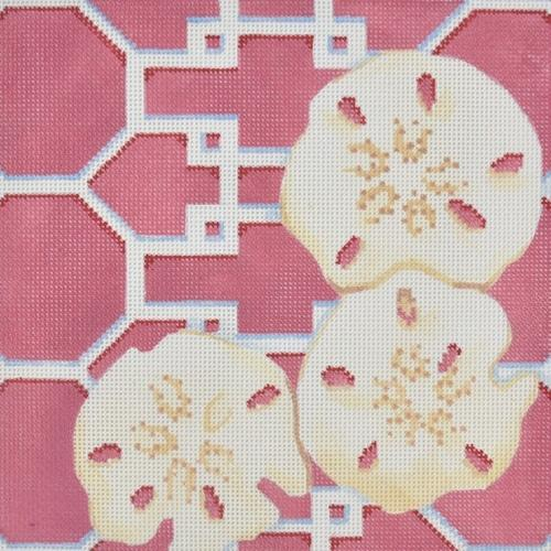 Sand Dollars on Lattice / Pink Painted Canvas Associated Talents