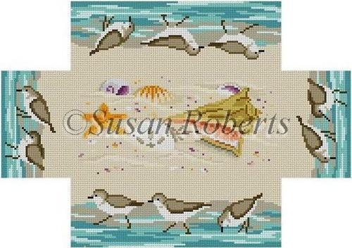 Sandpipers and Seashells Brick Cover Painted Canvas Susan Roberts Needlepoint Designs, Inc.