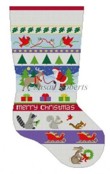 Santa and Animals Stripe Stocking Painted Canvas Susan Roberts Needlepoint Designs, Inc.