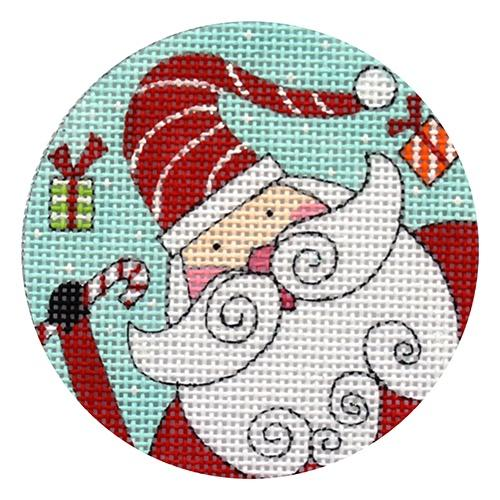 Santa and Packages Ornament Painted Canvas Alice Peterson Company