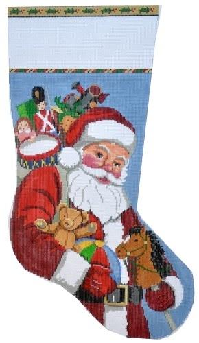 Santa Carrying Toys Stocking Painted Canvas Susan Roberts Needlepoint Designs, Inc.