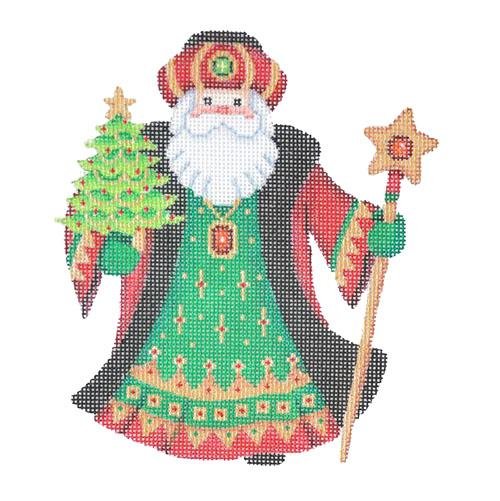 Santa Claus - Black Robe with Mini Tree Painted Canvas Burnett & Bradley