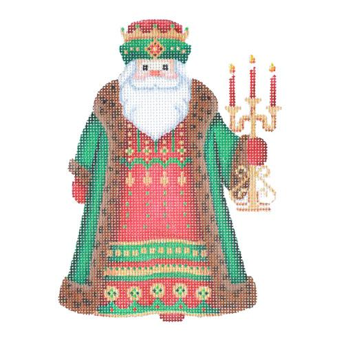 Santa Claus - Brown Robe with Candles Painted Canvas Burnett & Bradley