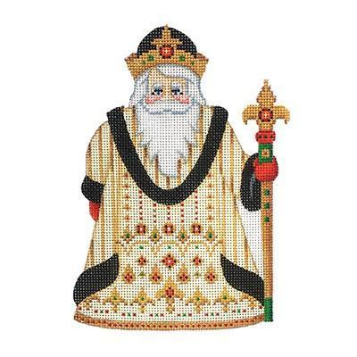 Santa Claus - Gold & Black Robe with Jewels Painted Canvas Burnett & Bradley