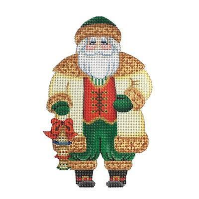 Santa Claus - Gold Coat with Bells Painted Canvas Burnett & Bradley