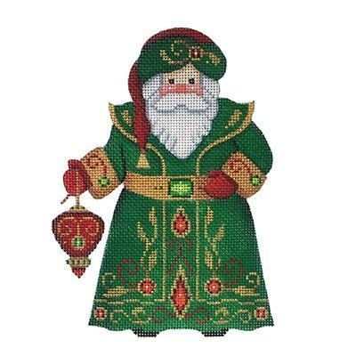 Santa Claus - Green Robe with Red Ornament Painted Canvas Burnett & Bradley