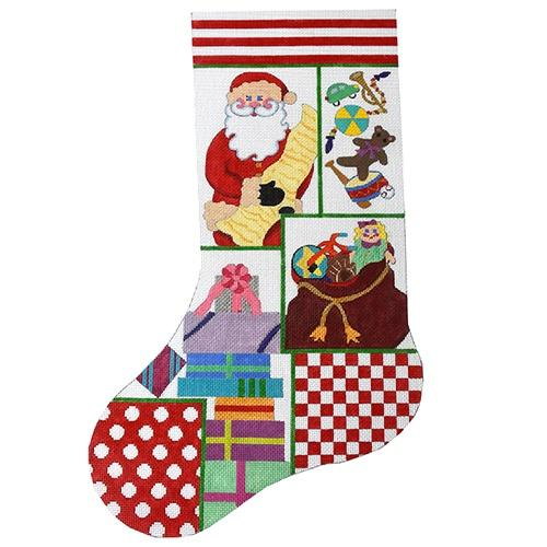 Santa Collage Stocking Painted Canvas The Meredith Collection