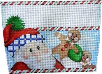 Santa / Gingerbread Stocking Cuff Painted Canvas Associated Talents