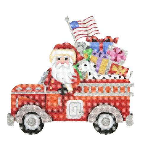 Santa in a Fire Truck Painted Canvas Burnett & Bradley