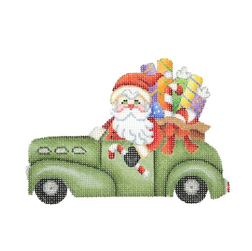 Santa in an Antique Car Painted Canvas Burnett & Bradley