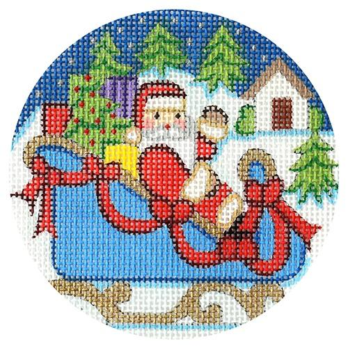 Santa in Blue Sleigh Ornament Painted Canvas Alexa Needlepoint Designs