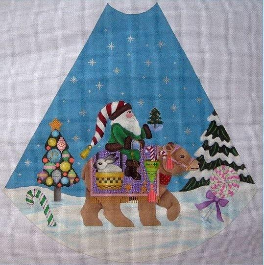 Santa on Brown Bear Tree Skirt Panel Painted Canvas Brenda Stofft Designs