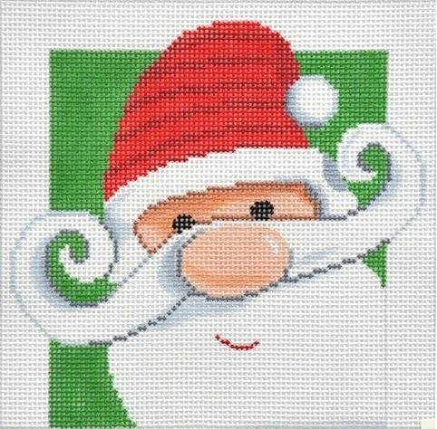 Santa on Green Background Painted Canvas Lee's Needle Art Inc.