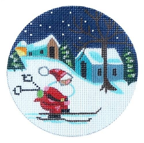 Santa on Skis Ornament Painted Canvas Danji Designs