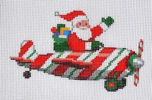 Santa Pilot Painted Canvas Susan Roberts Needlepoint Designs, Inc.