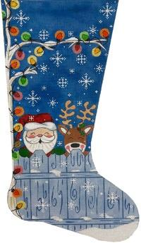 Santa & Reindeer Stocking Painted Canvas Alice Peterson