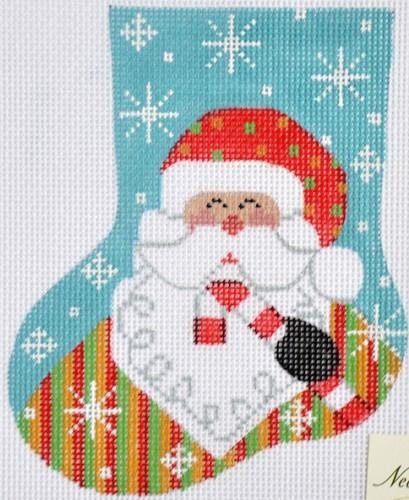 Santa with Candy Cane Mini Stocking Painted Canvas Danji Designs