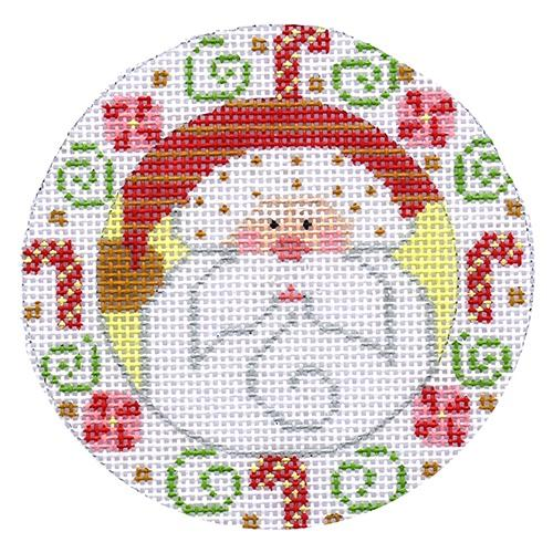 Santa with Candy Canes Ornament Painted Canvas Danji Designs