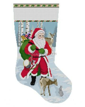 Santa with Deer Stocking Painted Canvas Susan Roberts Needlepoint Designs Inc.