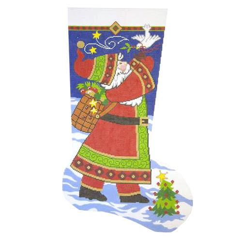 Santa with Dove Stocking Painted Canvas Lee's Needle Art Inc.