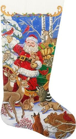 Santa's Animal Gathering Stocking Painted Canvas Alice Peterson
