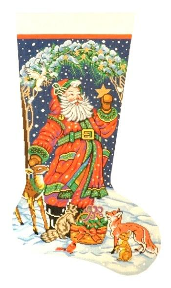Santa's Animals Stocking Painted Canvas Lee's Needle Art Inc.