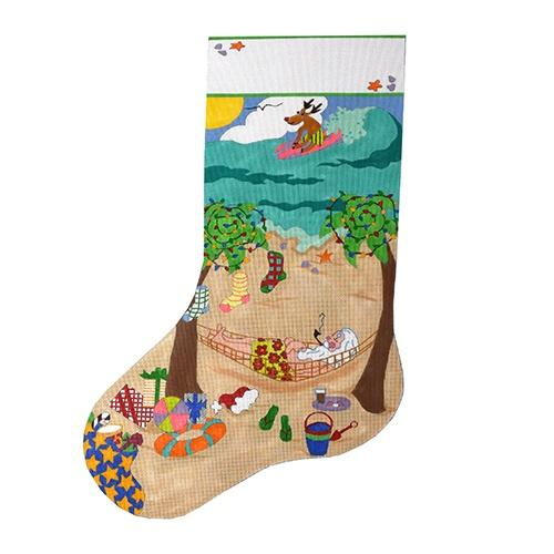 Santa's Beach Vacation Stocking Painted Canvas The Meredith Collection