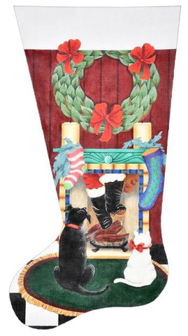 Santa's Coming Down Stocking Painted Canvas dede's Needleworks