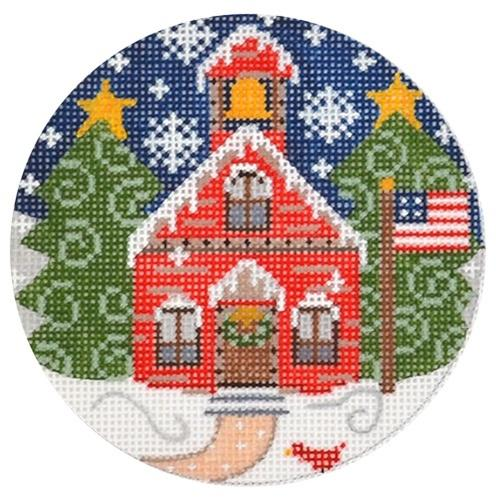School House Ornament Painted Canvas Danji Designs