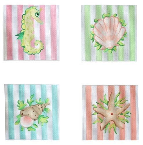 Sea Creatures on Pastel Cabana Coasters Painted Canvas Kate Dickerson Needlepoint Collections