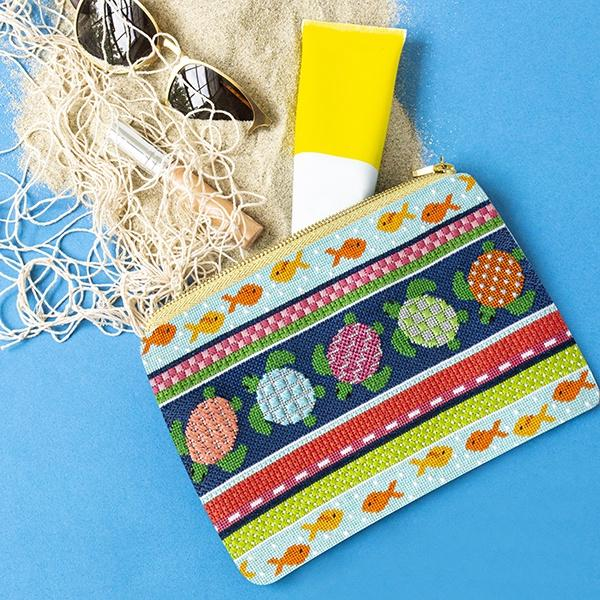 Sea Turtles Clutch Kit & Online Class Online Classes Two Sisters Needlepoint