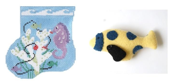 Seahorse Mini-Sock with Fish Insert Painted Canvas Kathy Schenkel Designs