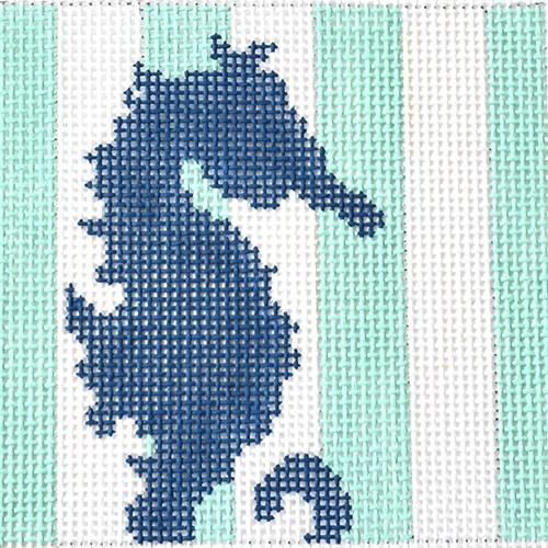 Seahorse Stencil Insert Painted Canvas Two Sisters Needlepoint