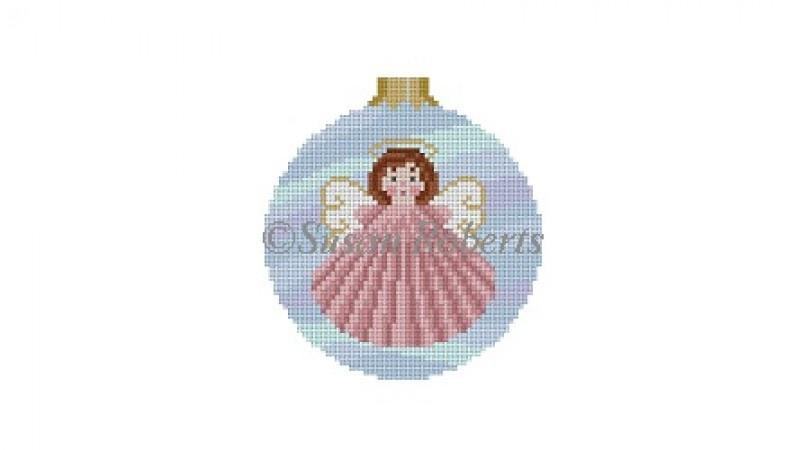 Seashell Angel Round Painted Canvas Susan Roberts Needlepoint Designs Inc.