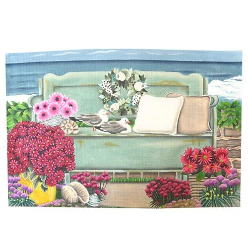 Seaside Bench Painted Canvas Melissa Shirley Designs