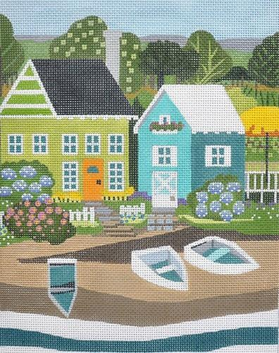 Seaside Houses - Green / Blue Painted Canvas Melissa Shirley Designs