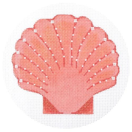 Seaside Scallop Shell (Coral) Painted Canvas Pepperberry Designs