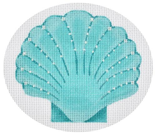 Seaside Scallop - Turquoise Painted Canvas Pepperberry Designs