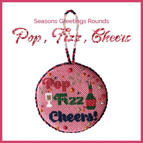 Season's Greeting Rounds Kit & Class - Pop Fizz Cheers Online Course Needlepoint.Com