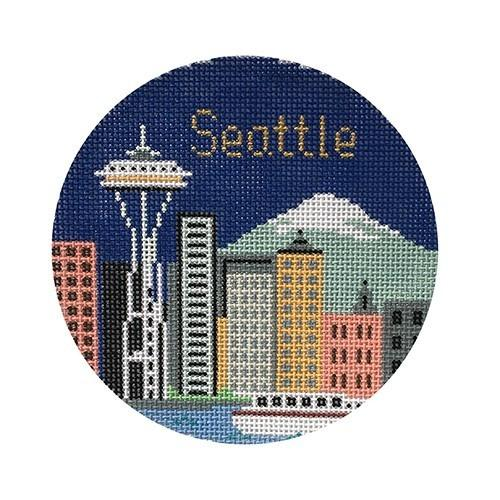 Seattle Ornament Painted Canvas Silver Needle