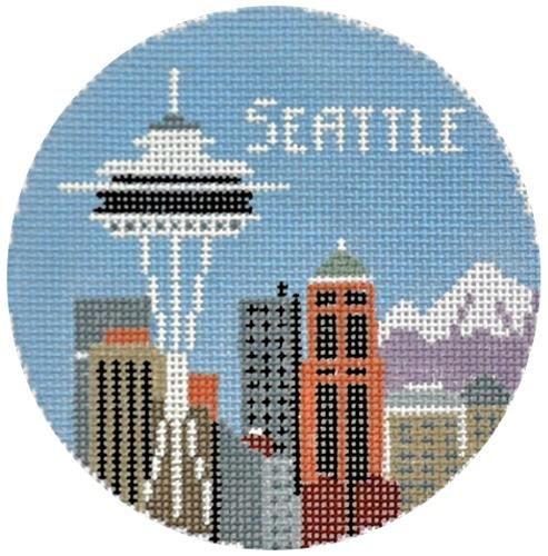 Seattle Round Painted Canvas Kathy Schenkel Designs