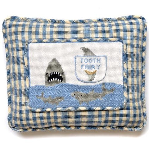 Shark Tooth Fairy Pillow Painted Canvas Kathy Schenkel Designs