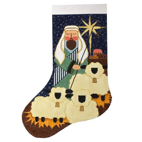Shepherd with Sheep Stocking Painted Canvas The Meredith Collection