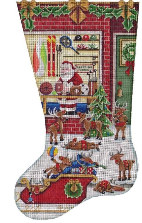 Shopping Sports Stocking on 18 Painted Canvas Rebecca Wood Designs