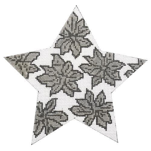 Silver Poinsettia Star Painted Canvas Whimsy & Grace