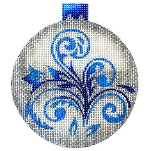 Silver with Blue Ornament Painted Canvas All About Stitching/The Collection Design