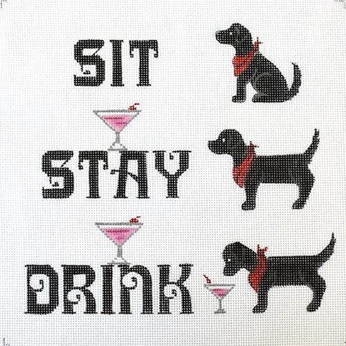 Sit Stay Drink Painted Canvas Annie Lee Designs